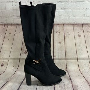 NEW Kelly & Katie Black Faux Suede Tall Boot